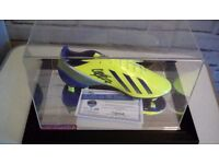 Authentic Louis Suarez signed boot, cased with certificate of authenticity.