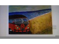 Large hand painted canvas of campervan on beach