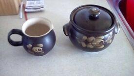 Denby jug and pot set
