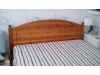 Double bed frame solid pine with 2 under bed storage drawers