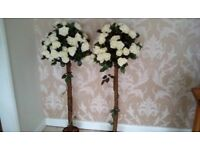 "50"" tall artificial rose trees in cream"
