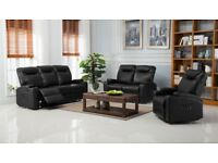 Brand new lazy boy black leather reclining sofas with drinks holder and remote pockets