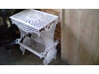 "WHITE WROUGHT IRON TABLE/ STAND FOR PLANTS OR BOOKS ETC.27"" X 20.5"" X 13"""