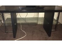 Black glass tv stand with glass shelves