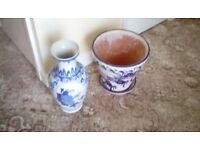 Large blue plant pot and saucer and blue vase
