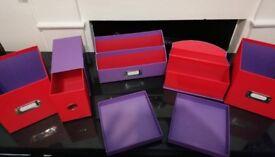 5 red and purple desk organizer boxes