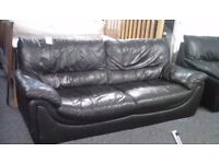 Black Leather 2 and 3 Seater Sofas #30723 £179