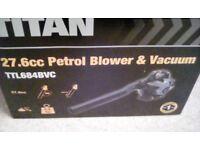 TITAN 27.6CC PETROL LEAF BLOWER/VAC - NEW IN BOX