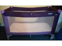 BABY TODDLER PURPLE TRAVEL COT BED FOLDABLE WITH MATTRESS
