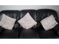 Black real leather three seater sofa and chair