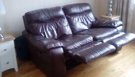 Brown manual recliner sofa