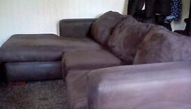 Corner sofa....brown faux suede....also metal action double bed.