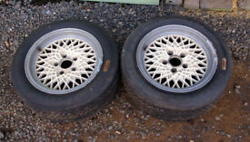 Pair of alloy wheels & tyres