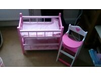 Wooden dolls Bunk beds and highchair