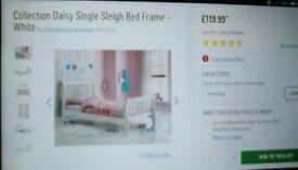 White single sleigh bed frame