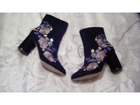 River island embroidered boots size 8