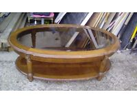 Wooden Table with Glass top - free for collection