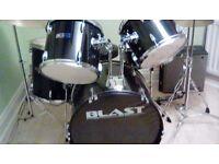 Full size black drum kit