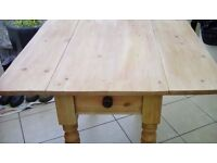 Vintage pembroke stripped pine kitchen table with draw