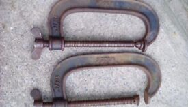 2 x vintage woden g- clamps