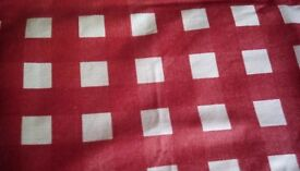 Wipe clean linen table cloth red and cream check