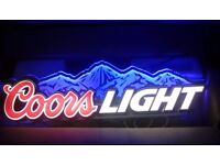 Coors light beer flourescent ight