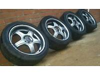 "17"" DEEPDISH MK5 GOLF 5X112 AUDI SEAT SKODA ALLOYS WITH TYRES"