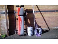York weights bars and bench for sale
