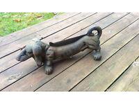 Cast iron Dachshund Dog boot scraper, used