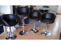 4 Breakfast bar stools brown faux leather