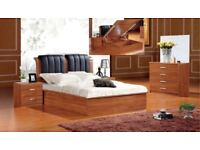 BRAND NEW MDF SOLID WOODEN STORAGE LIFT UP BED FRAME IN DOUBLE KING SIZE BLACK WALNUT BEECH OAK