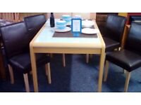 Extending Glass Inset Dining Table with 4 Chairs #29832 £85