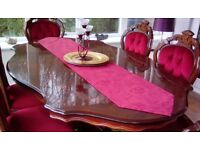 ITALIAN INLAID DINING TABLE PLUS 6 CHAIRS