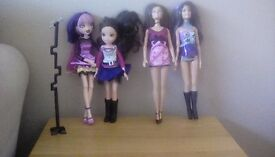 Seven Barbie and Bratz dolls