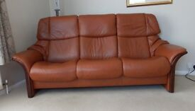 EKORNES STRESSLESS HIGH BACK 3 SEATER SOFA AND CHAIR IN BRANDY COLOURED SOFT PALOMA LEATHER.