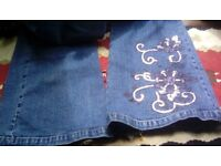 Ladies Jeans Next flared sequin jeans size 12