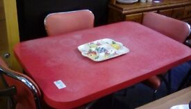 Red table and 3 chairs #32525 £25
