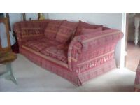 Sprung edge, well made traditional style sofa for sale