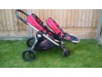 City Select baby jogger double buggy pram,raincovers&foot muffs