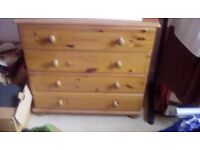 Pine dressing table and chest of drawers