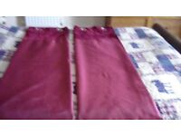 Red ring top curtains. 66x 72. 2prs. 1 unused. Cost £38pr.