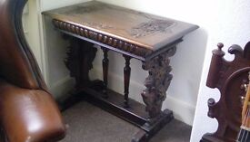 Wooden carved side or lamp table