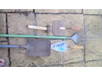 X2 trowels, lump hammer, shovel and rake. Good used condition.