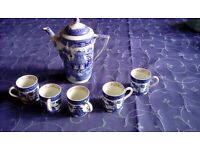 A Blue Coffee Jug with Cups