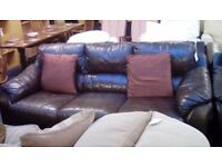 Brown Leather 3 Seater Sofa and 1 Armchair #29768 £199