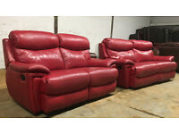 DFS 3+2 dark red leather recliner sofas, suite, couch DELIVERY AVAILABLE