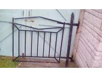 Gate metal with post. Square hollow metal .3ft 3in high by 3 ft 7 wide.2 x2 inch post