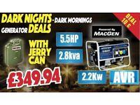 JEFFERSON 2.2KW PETROL GENERATOR AVR Anti Voltage Regulator, free jerry Can Fuel 2.2kW 5.5HP