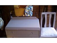Handpainted pale pink dressing table and chair