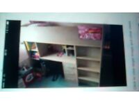Cabin bed with desk and draws